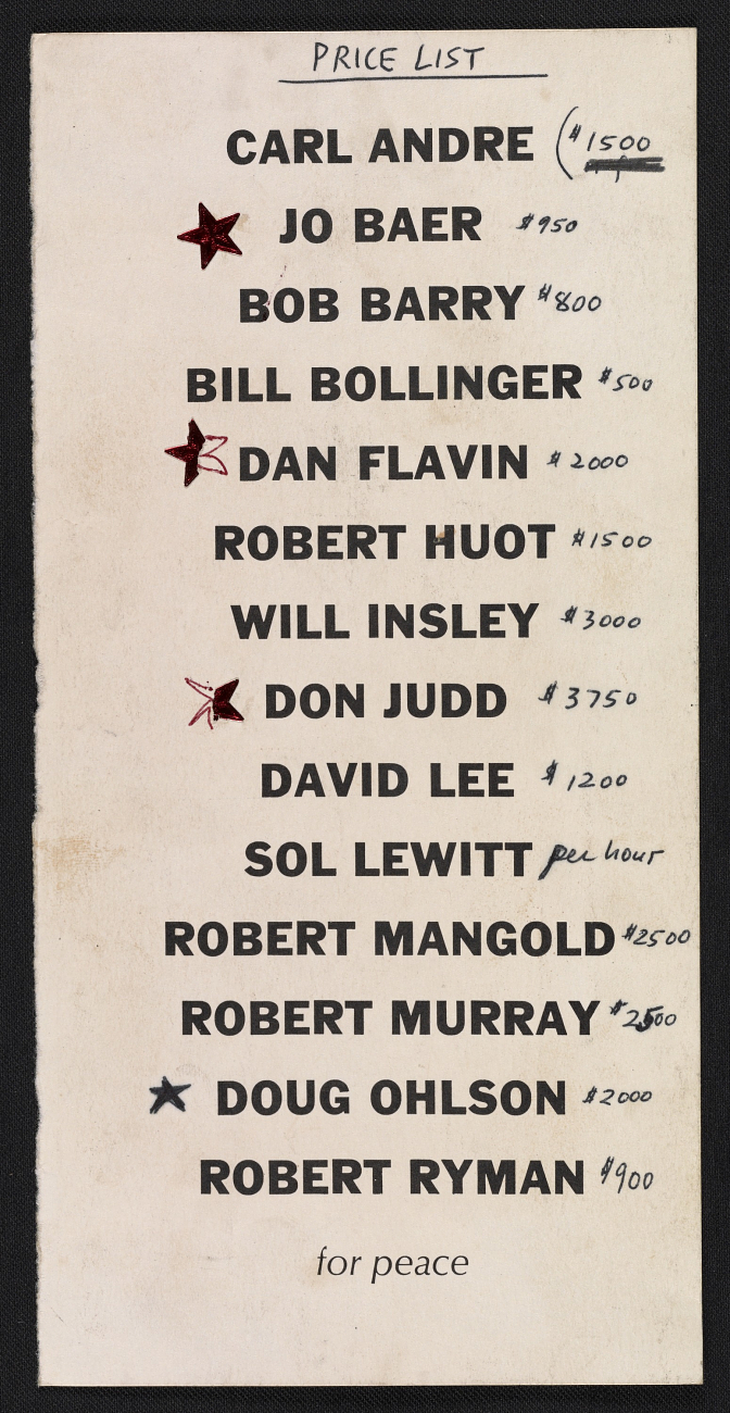 "Annotated announcement with prices for the gallery's first ever exhibition in 1968. Now in the ""Lucy R. Lippard papers,"" Archives of American Art, Smithsonian Institution."