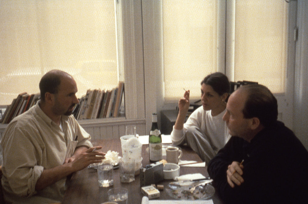 Robert Gober, Paula Cooper, and Jerry Saltz at 149 Wooster Street in 1992. Photo by Ona Nowina-Sapinski.