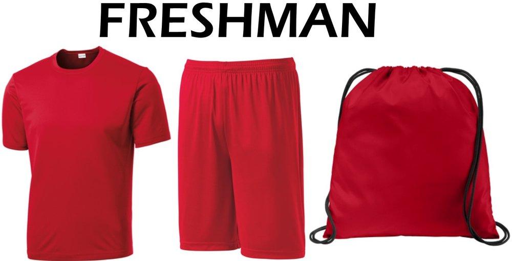 Freshman Package - $30.00 - 1- ST350 Dri-Fit T-Shirt 1- ST355 Dri-Fit Shorts 1- BG615 Cinch Pack