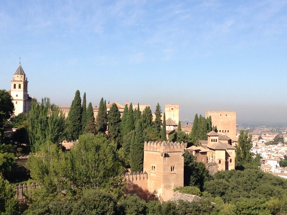 Views over the palace grounds and ramparts, Alhambra, Granada