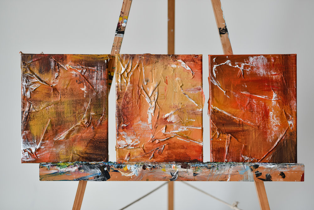 ABSTRACT FALL TRIPTYCH COLLAGE -