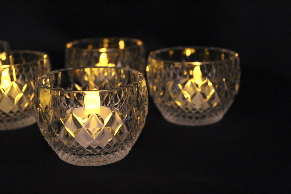 Vintage Glass Votive - Candle Included - $1.00 - 40 in stock