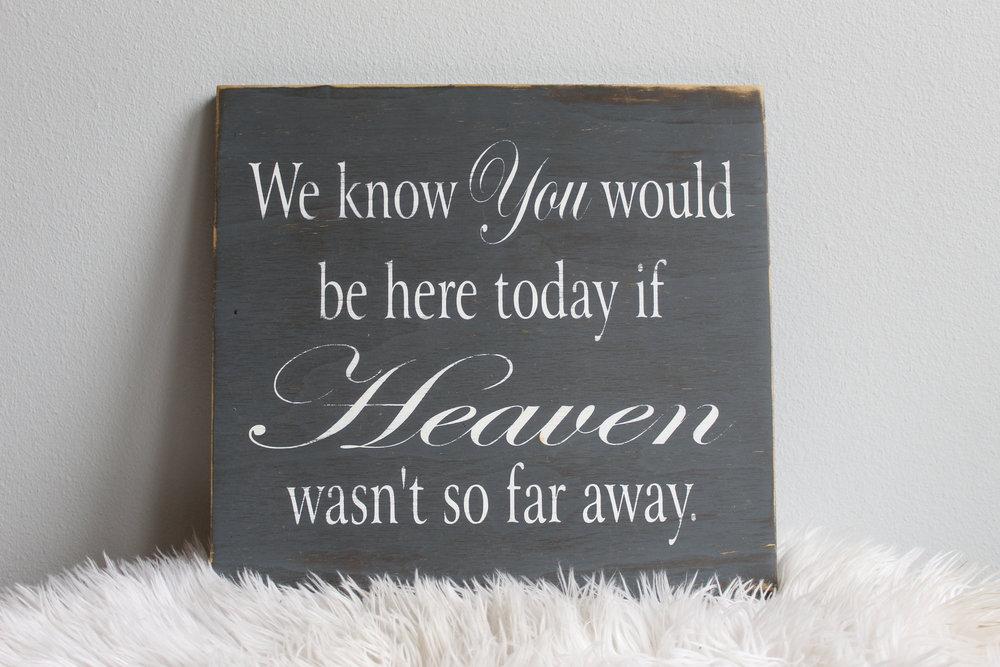 If Heaven Wasn't So Far Away Sign - $8.00