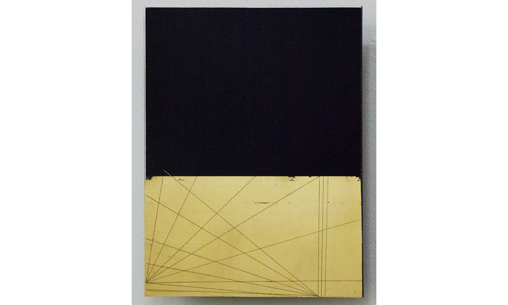 Untitled  2014-15 24 karat gold leaf on black glass 12h x 9w in