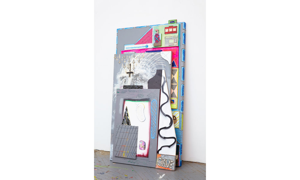 12 Tabs Deep  2016 Stacked Paintings, Oil, Acylic, Caulk, Enamel, Clay, on Canvas and on Wood 69h x 45w in