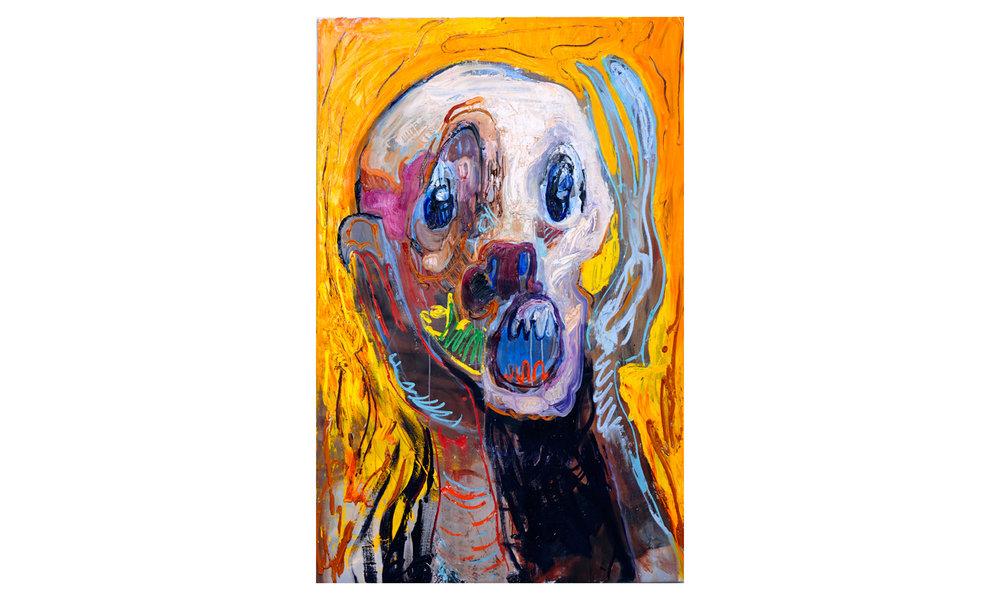 The Scream 2  2016 Oil, Acrylic, Caulk on Canvas 54.75h x 36w in