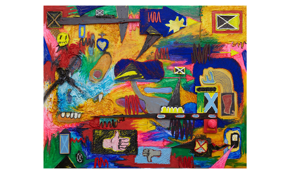 Oops (My Mistake)  2016 Oil, Acrylic, Caulk, Enamel, Stone, Wood, Plastic, Clay, on Canvas mounted on Board 48h x 60w in