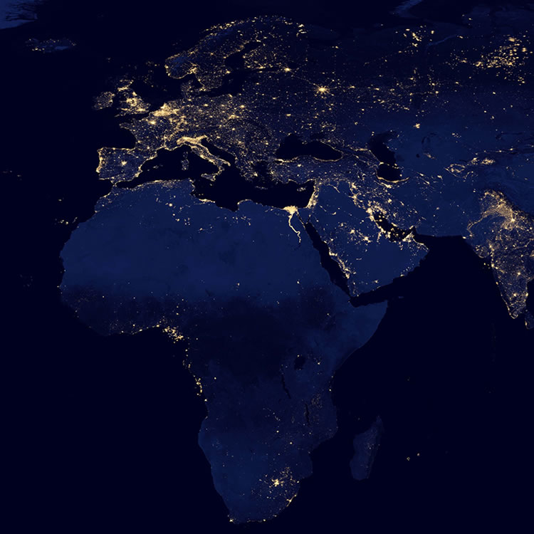 An increase in regional night activity can indicate a growing economy. Photo Courtesy of http://geology.com/articles/satellite-photo-earth-at-night.shtm