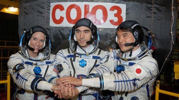 Kate Rubins, Anatoly Ivanishin, and Takuya Onishi before departing on Soyuz spacecraft. Photo courtesy of NASA