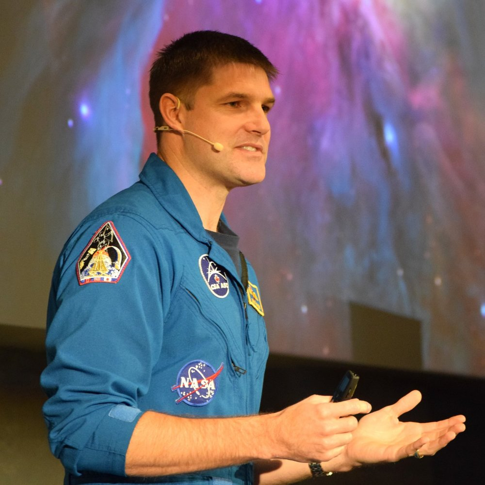 CSA astronaut Jeremy Hansen presenting at the Kitchener-Waterloo 2017 NASA Space Apps challenge hosted by SkyWatch.
