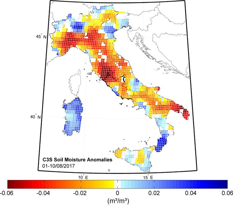 Soil moisture anomalies in Italy, August 2017 - contains Copernicus Sentinel data (2017)/ESA