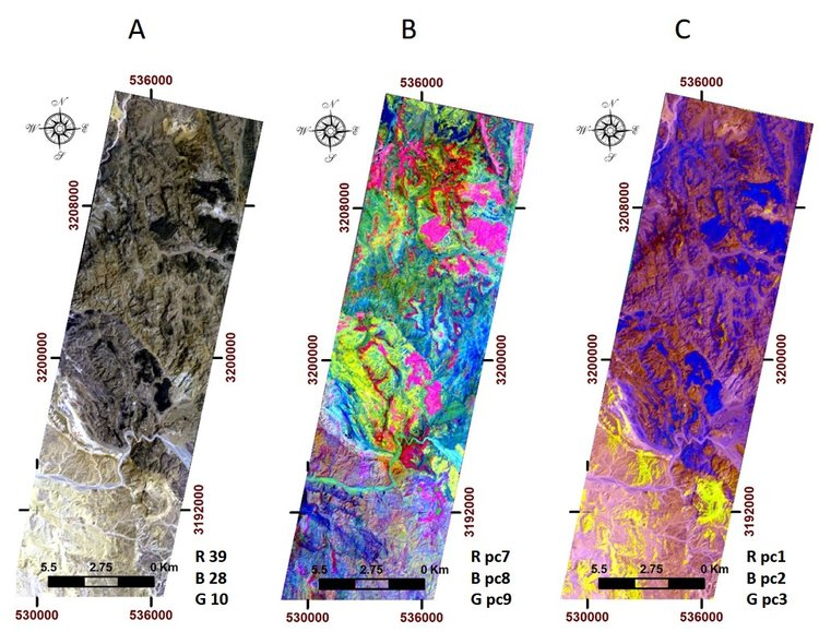 Examples of three different satellite data composites of the same area, highlighting different features. Left image is a true colour composite, center and right images are false colour compositions.