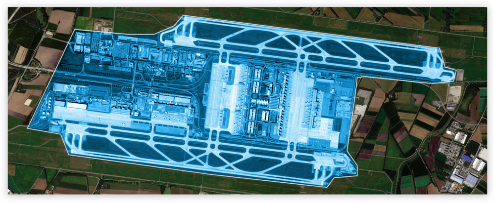 An airport: 12 Square kilometers