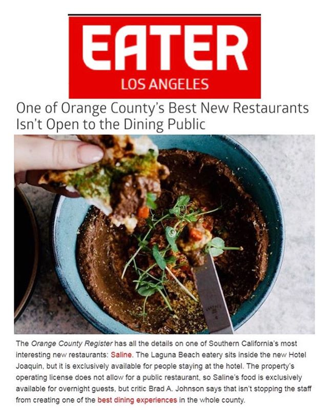EXTRA, EXTRA... READ ALL ABOUT IT!! The best dining experience in the county is at Saline inside @hoteljoaquin and @eater agrees!! #HotelJoaquin #Saline #AuricRoadProperties #Eater #EaterLA #OrangeCounty #Foodie #traveldestination