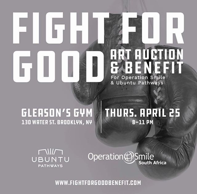 Join us in the FIGHT for GOOD on April 25th at the iconic @gleasonsgym for a special charity event and art auction in benefit of @opsmilesa and  @ubuntupathways two organizations that both work to provide healthy and happy futures for South Africa's children. Tickets are on sale now, get yours at www.fightforgoodbenefit.com 🥊