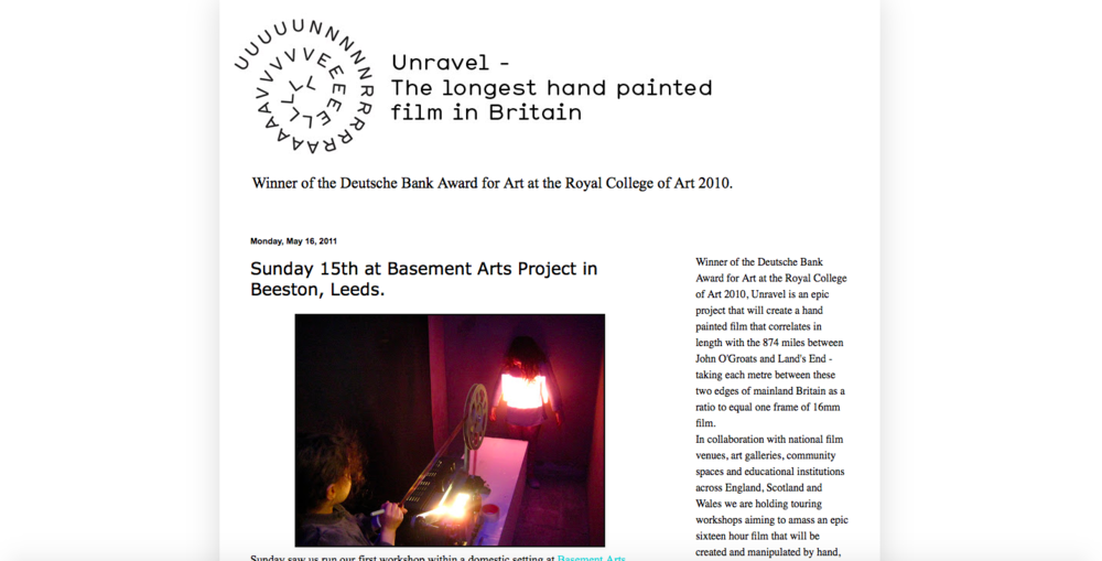 Unravel - Blog - http://unravelfilm.blogspot.co.uk/2011/05/sunday-15th-at-basement-arts-project-in.html