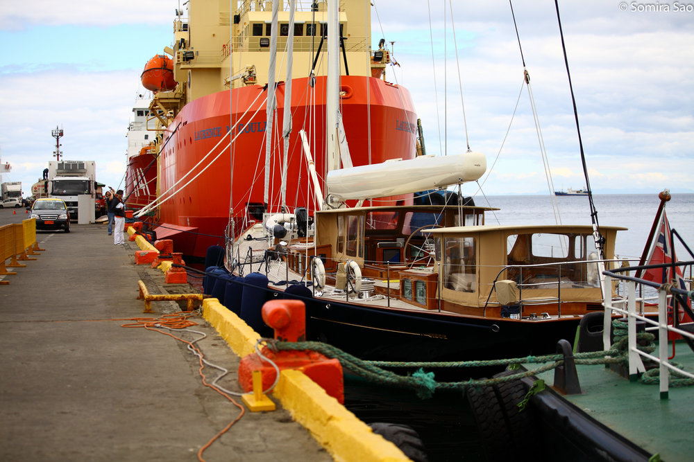 Pumula / Royal Huisman 122ft  2015 Muelle Prat, Punta Arenas CHILE  Pre Antartctic voyage pitstop  Woodwork repair, Canvas, Safety equipment replacement Medical supplies and Hydraulics