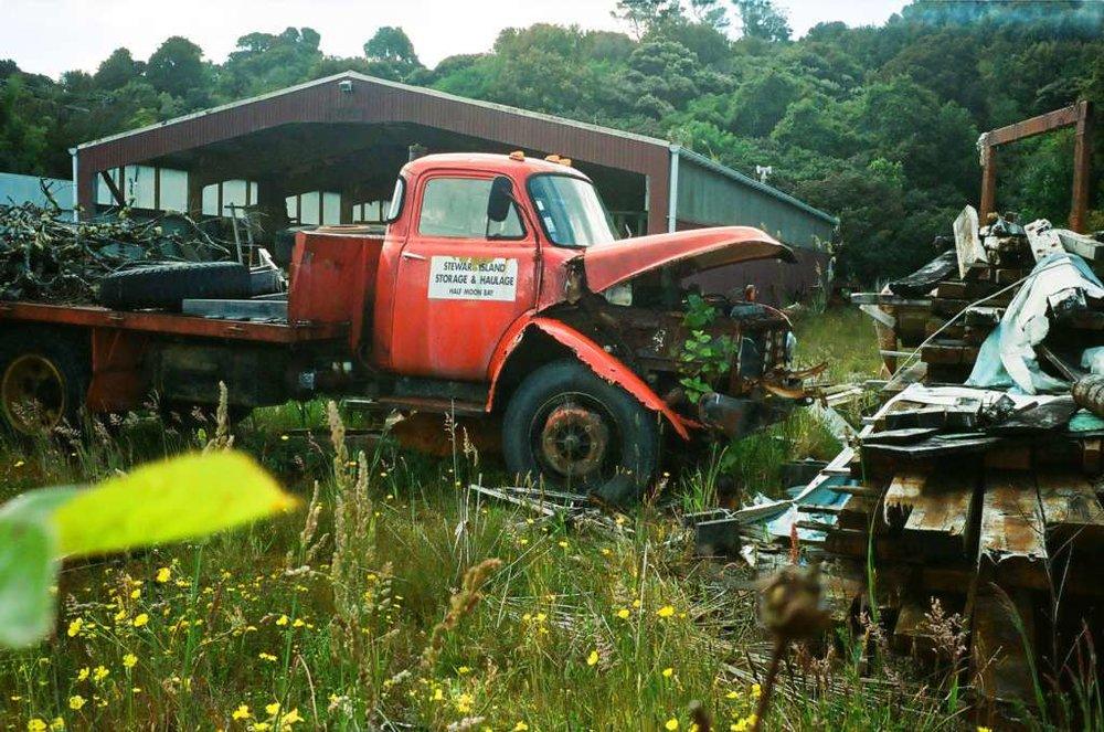 Decrepit truck, Stewart Island