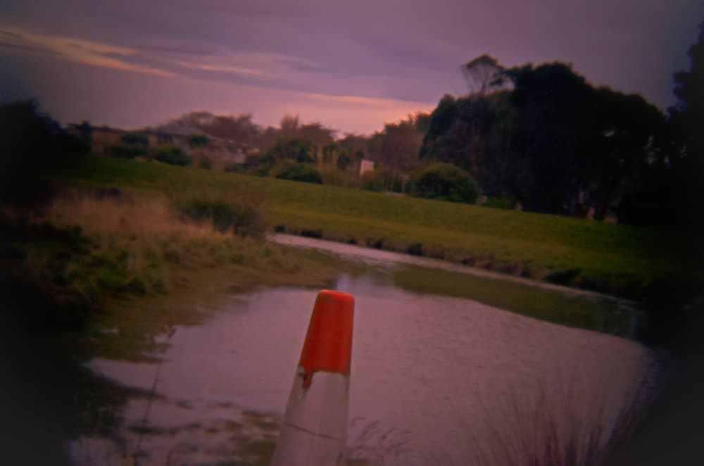 Road cone beside the Waihopai