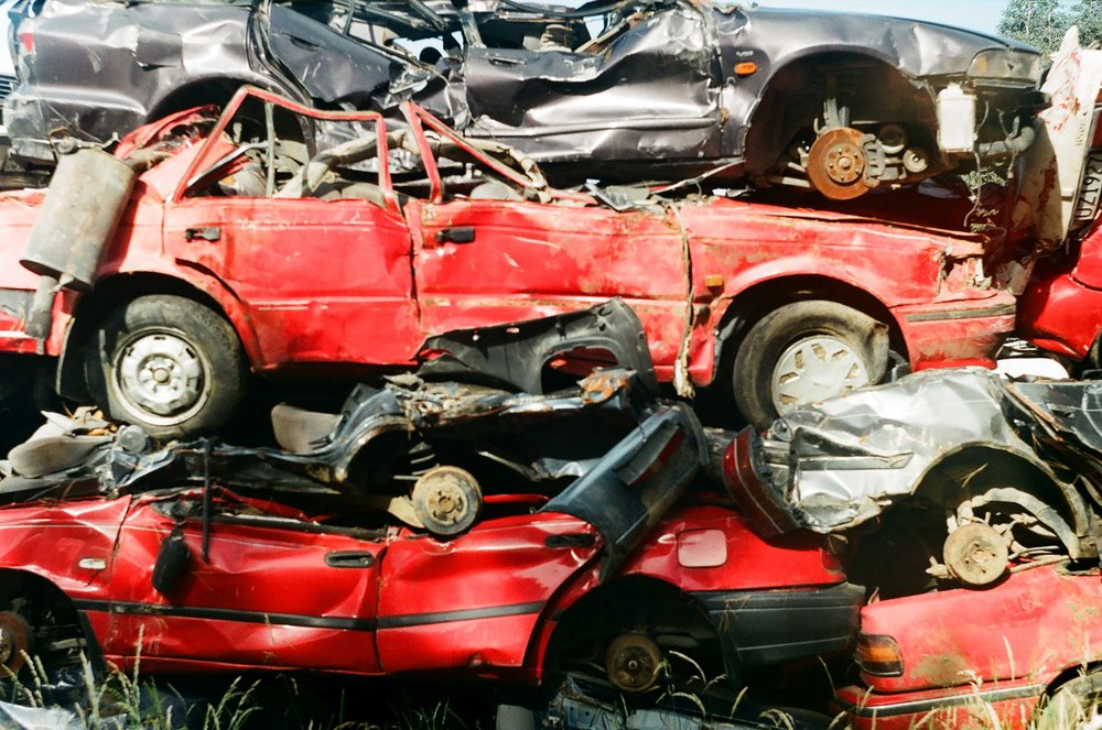 Piled high in a car wrecker's yard