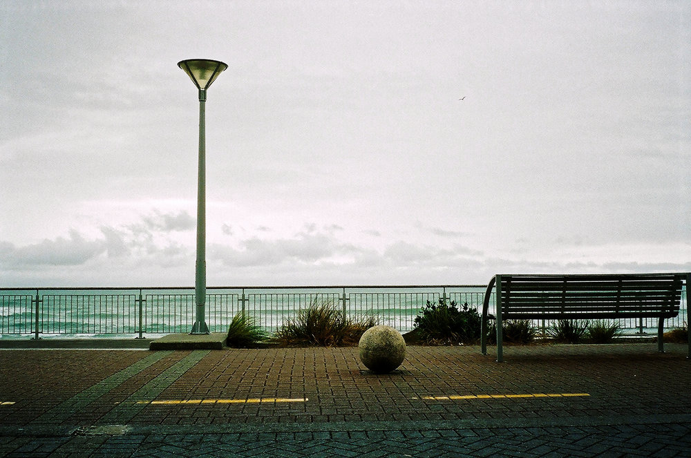 View out to sea from the Esplanade, St Clair, Dunedin