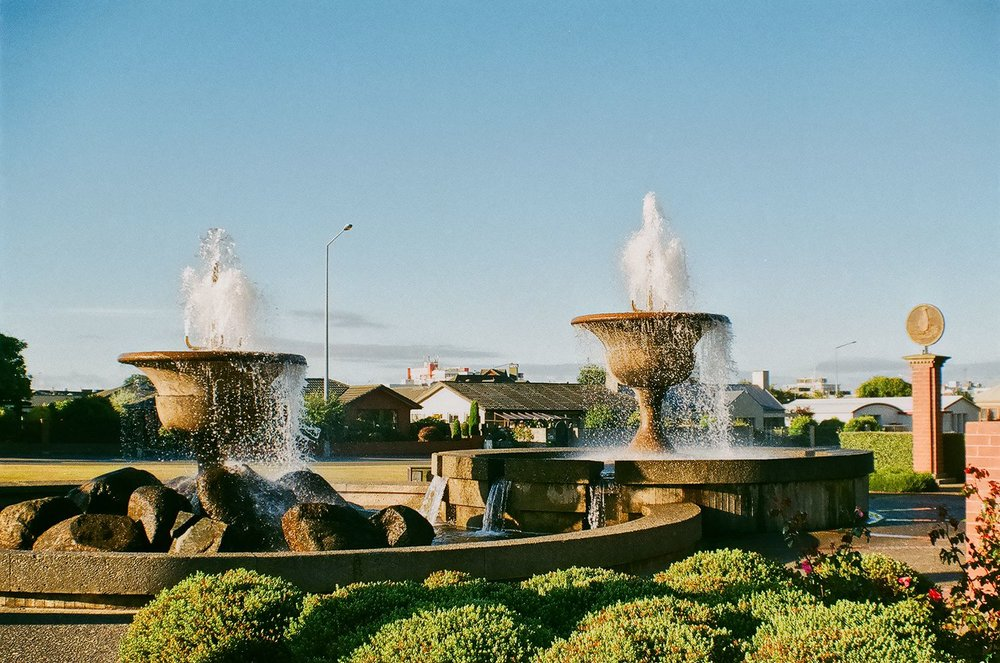 Fountains at the gates of Queens Park, Invercargill