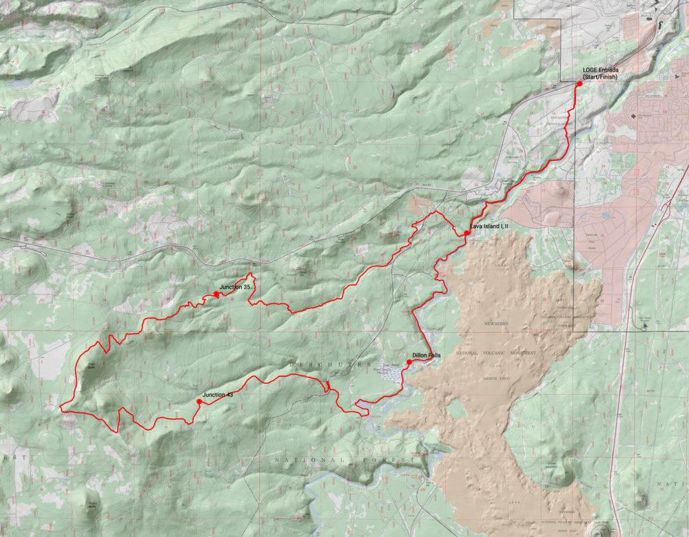 Deschutes River 50K course map (2019)