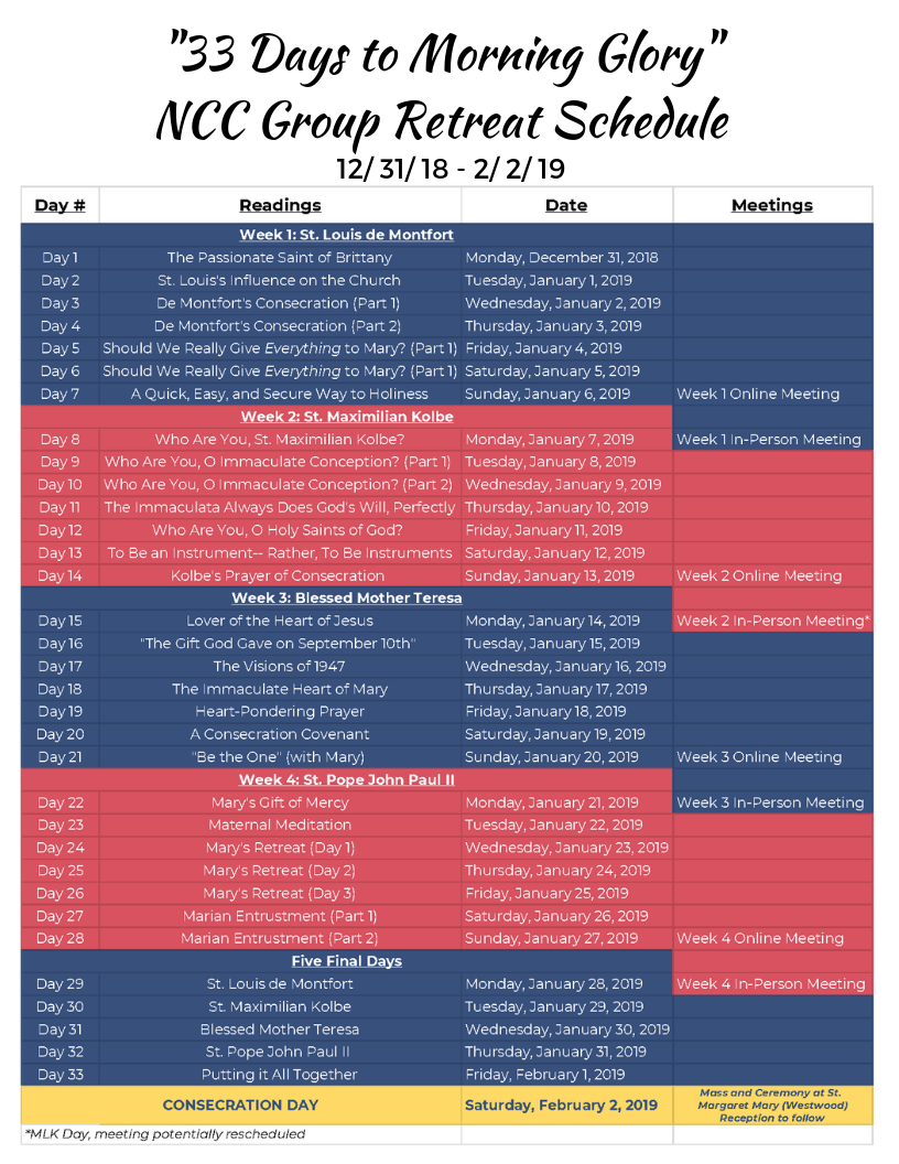 Click to download retreat schedule  (Page 1- NCC Schedule, Page 2- Other young adult groups)