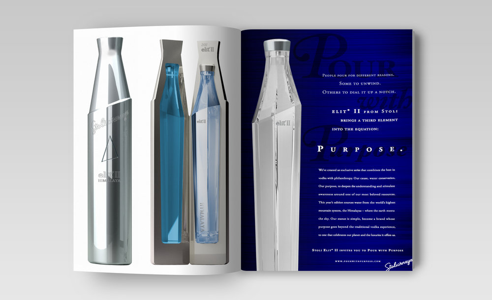 STOLI ELIT:  Package Design & Advertising for cause-related campaign in support of the World Water Conservation.