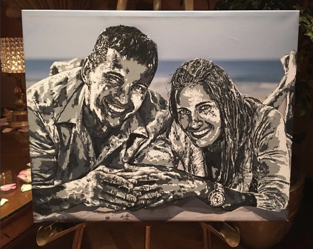 Live painting for a wedding in New Jersey using the couple's favorite engagement photograph and ready for the couple to take home, or for guests to sign around the edges of the canvas!