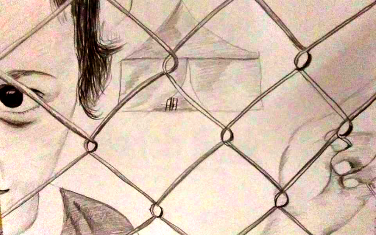 """Abbas al Aboudi, """"Child in Detention,"""" pencil on paper.  The Refugee Art Project"""