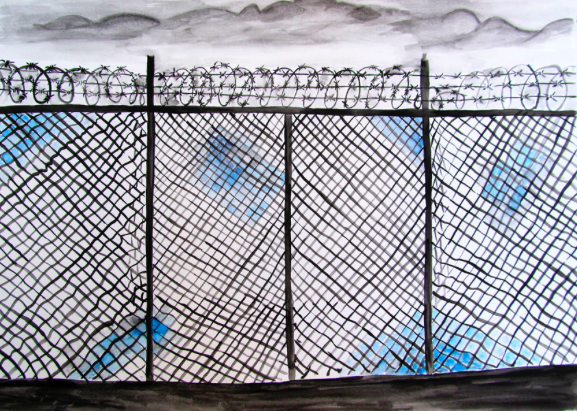 "Mutaza Ali Jafari, ""The Fence,"" ink and watercolor on paper.  The Refugee Art Project"