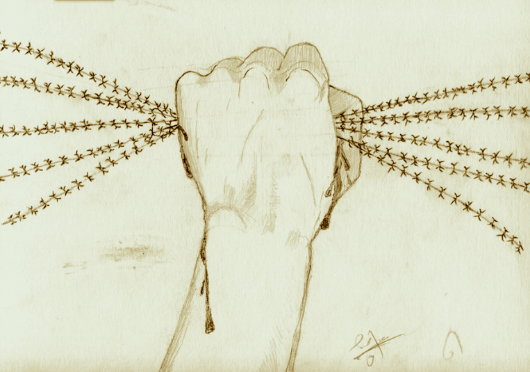 """N., """"Resistance,"""" pencil on paper.  The Refugee Art Project"""