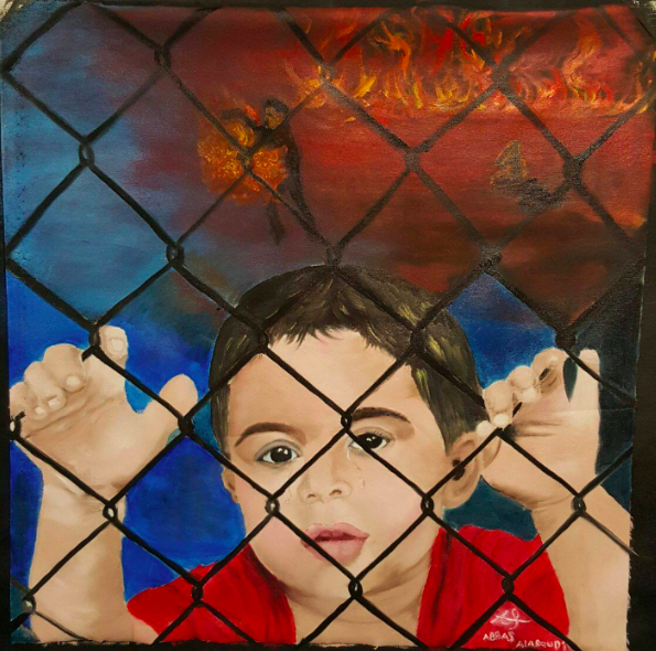 "Abbas al-Aboudi, ""Child in Detention,"" oil on canvas.  The Refugee Art Project"