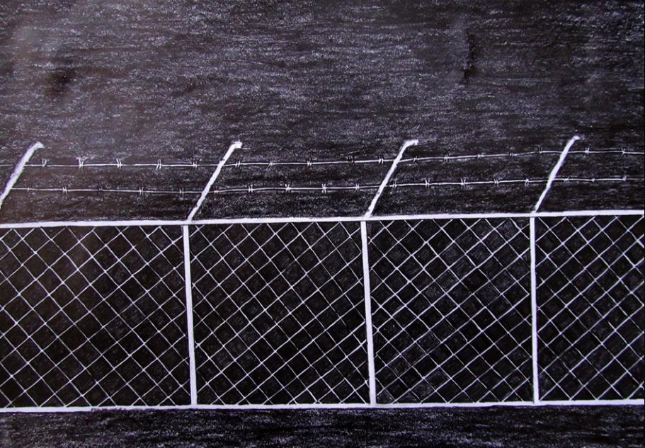 "J. ""Villawood Fence,"" pencil on paper.  The Refugee Art Project ."