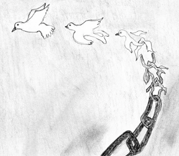 Artwork by Mohammad, from immigration detention in Australia. The Refugee ArtProject