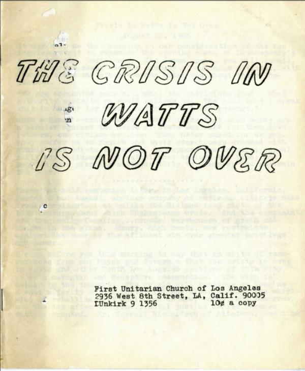 Nuestra historia - La Primera Iglesia Unitaria es conocida por su apoyo a los derechos humanos, la justicia económica y la igualdad.La abolicionista y sufragista Caroline Severance fundó la iglesia en 1877.En la década de 1950, la iglesia demandó con éxito al gobierno en un caso precedente de libertad de expresión. En los años 60 y 70, nuestros miembros estuvieron involucrados en movimientos de derechos civiles y anti guerra.La iglesia ha acogido a líderes progresistas y artistas como W.E.B Du Bois, Paul Robeson, Rita Moreno, Jane Fonda, Pete Seeger y Linus Pauling.Hoy, La Primera Iglesia Unitaria sigue siendo un centro de justicia social y política progresista en Los Ángeles.Más información