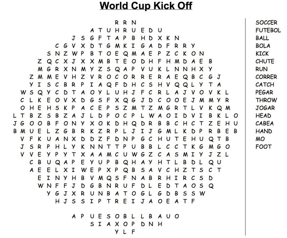 world cup 2014 word search