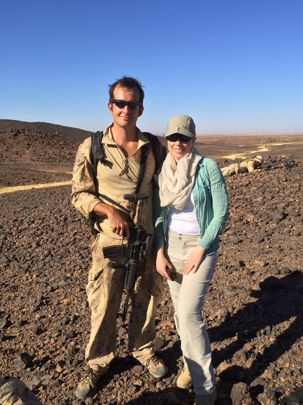 Caleb MacDonald working with CTV reporter Mercedes Stephenson while deployed with the Special Forces to Niger, 2014.