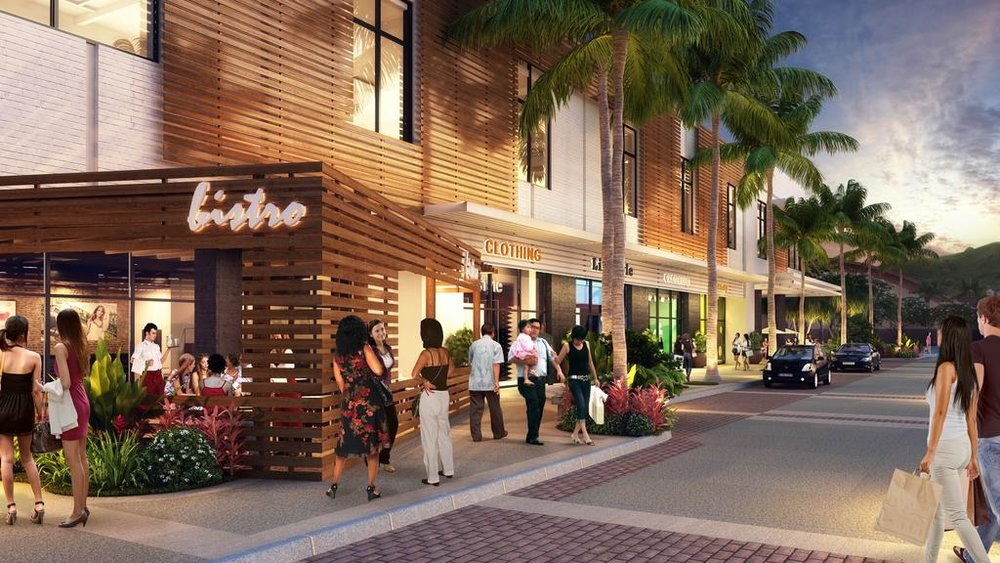 A rendering of Alexander & Baldwin's Lau Hala Shops, the redeveloped Macy's building in Kailua, where Chef Roy Yamaguchi will open his newest concept this year.  COURTESY ALEXANDER & BALDWIN