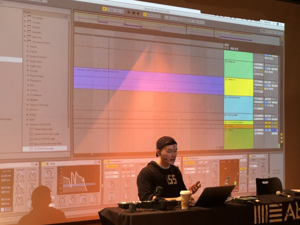 Adam explaining his workflow in Ableton Live