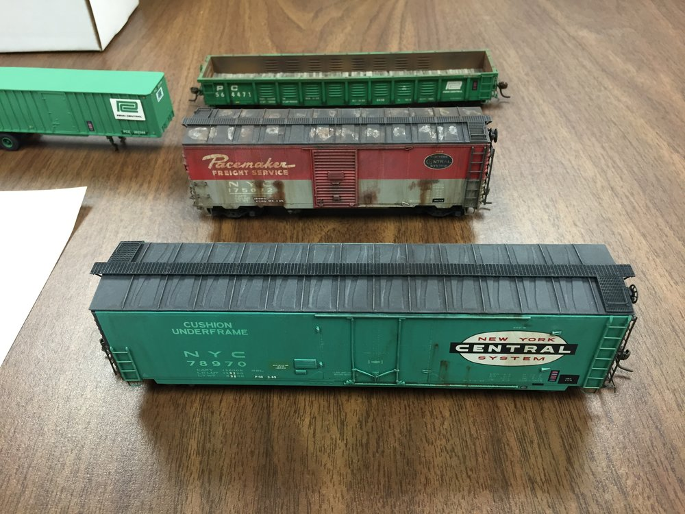Boxcar models on display in the model room