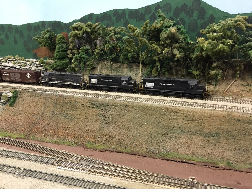 A scene on the HO scale layout at the Model Railroad Club of Buffalo