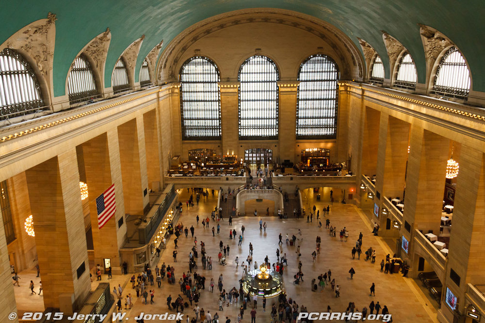 The view from a catwalk inside the glass windows at Grand Central Terminal