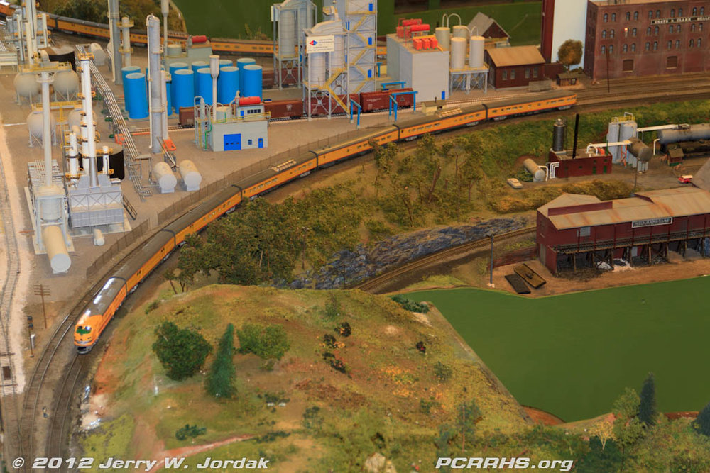 Union Pacific passenger train on The Model Railroad Club's HO scale layout