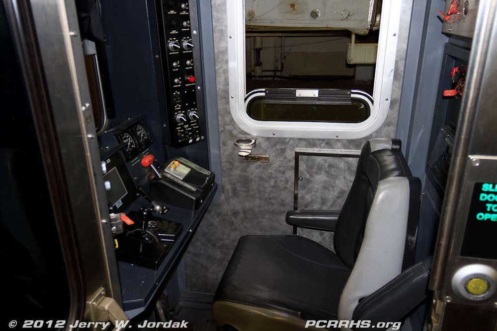 The operator cab of one NJ Transit's bi-level commuter cars