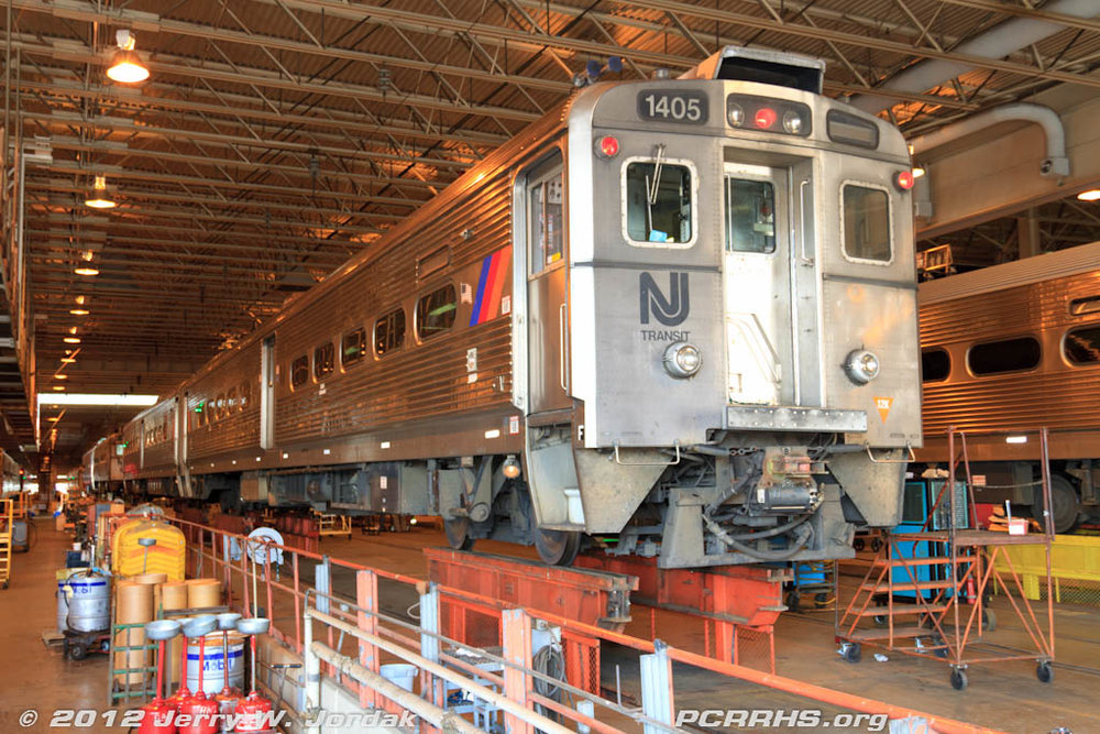 Jersey Arrow MU cars undergoing maintenance at the NJ Transit Meadowlands Maintenance Complex