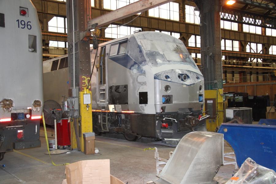 An Amtrak P42 locomotive receives a nose job
