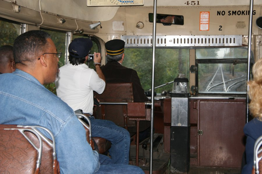 Riding on PCC car 451 at the Connecticut Trolley Museum