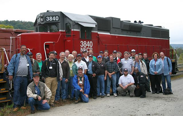 Group photo with NECR 3840, built as PC GP38 7904